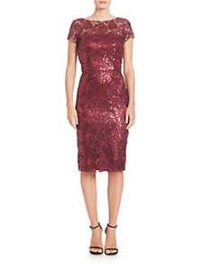 fitted red sequin dress