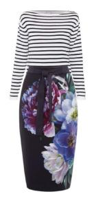 stripe top floral skirt
